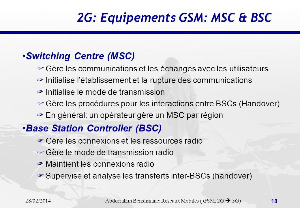 2G: Equipements GSM: MSC & BSC