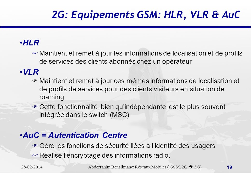 2G: Equipements GSM: HLR, VLR & AuC