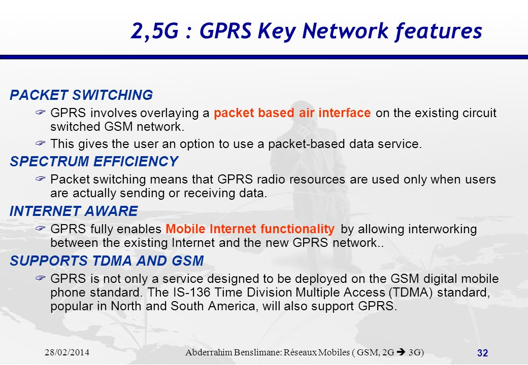 2,5G : GPRS Key Network features