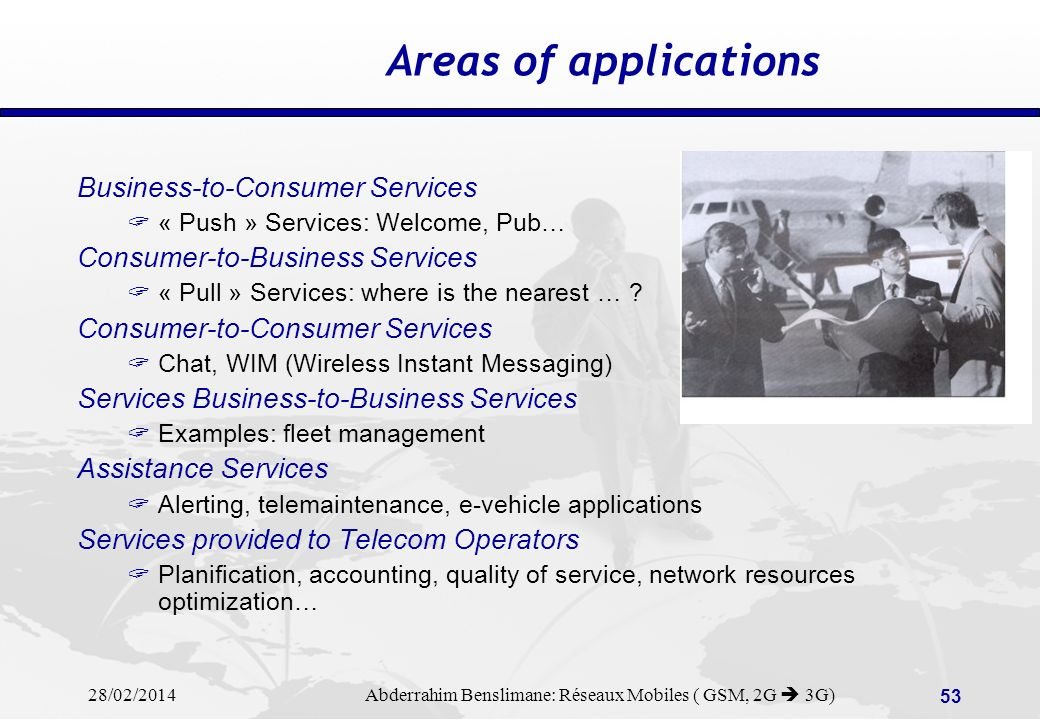 Areas of applications Business-to-Consumer Services