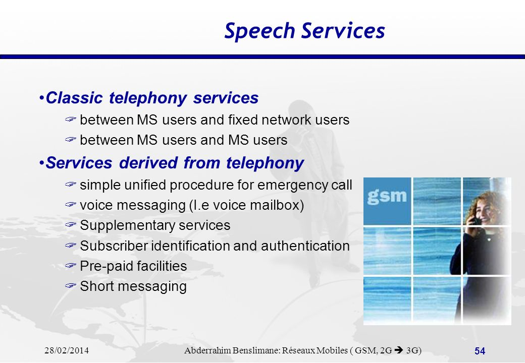 Speech Services Classic telephony services