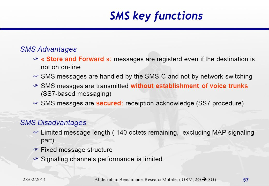 SMS key functions SMS Advantages SMS Disadvantages