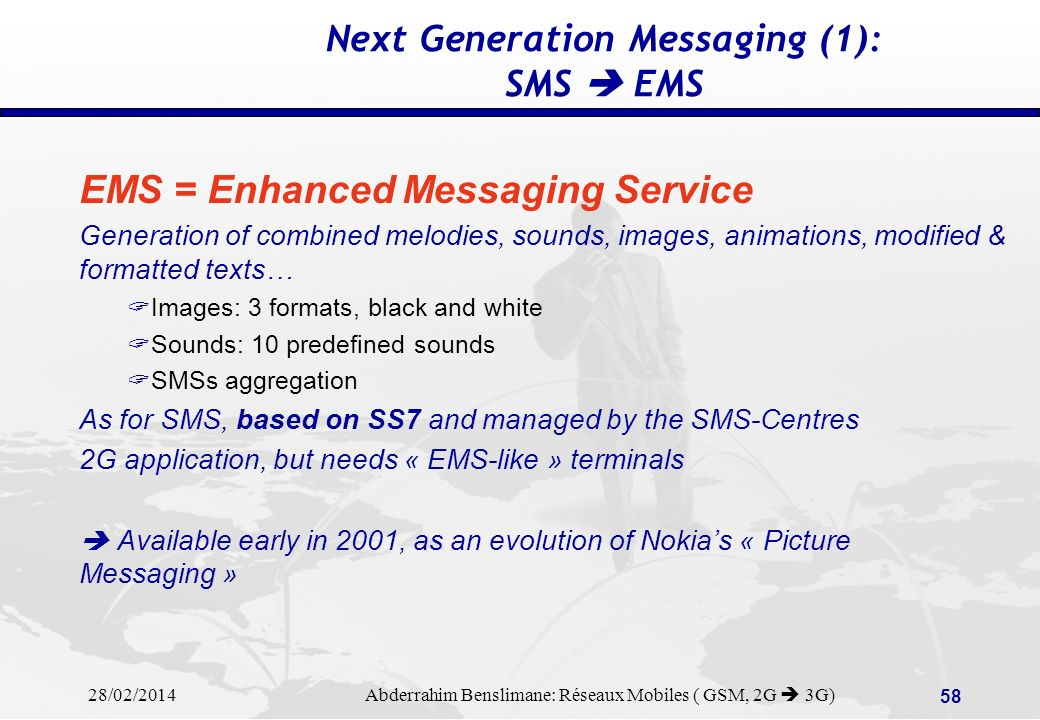 Next Generation Messaging (1): SMS  EMS