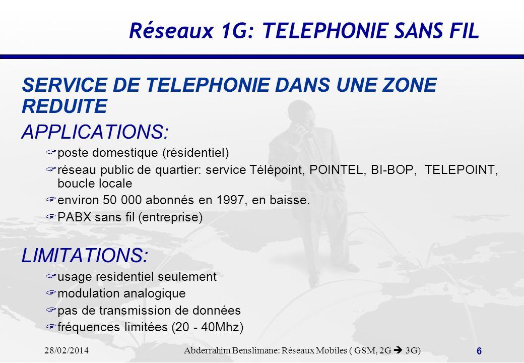 Réseaux 1G: TELEPHONIE SANS FIL