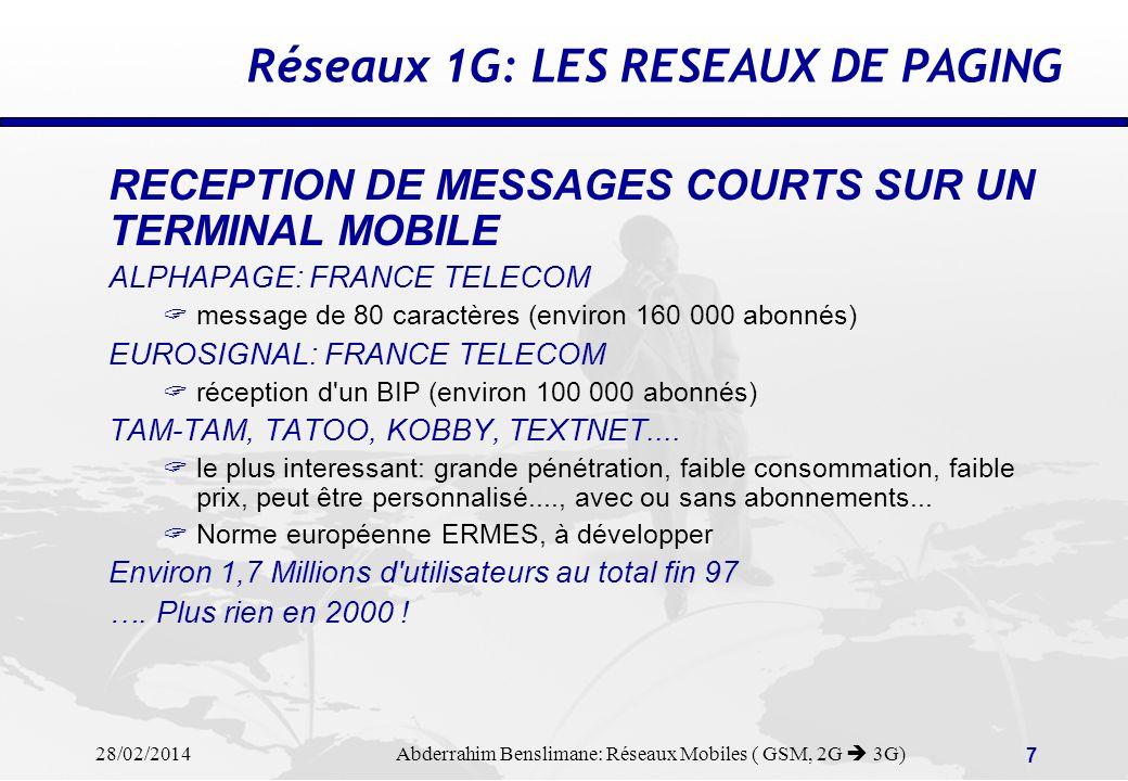 Réseaux 1G: LES RESEAUX DE PAGING
