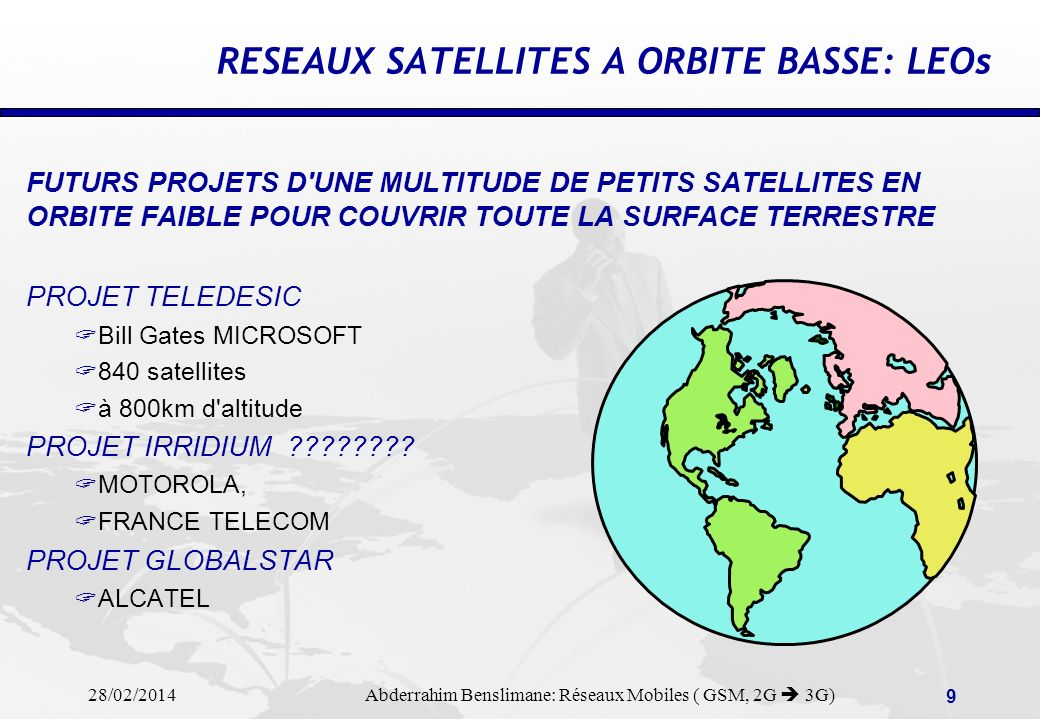 RESEAUX SATELLITES A ORBITE BASSE: LEOs
