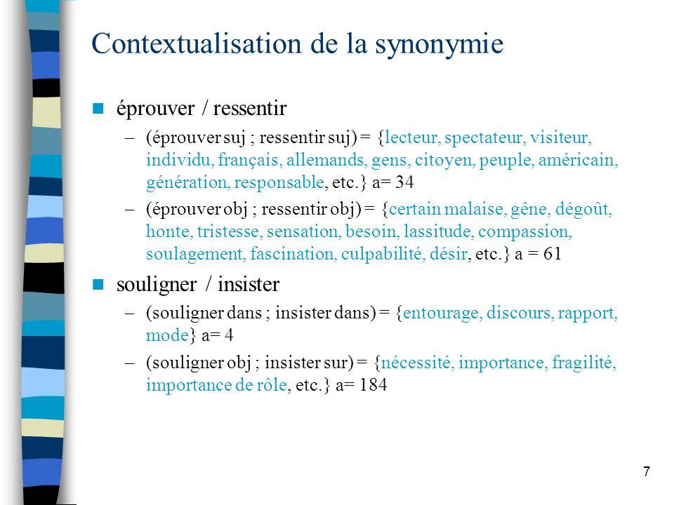 Contextualisation de la synonymie