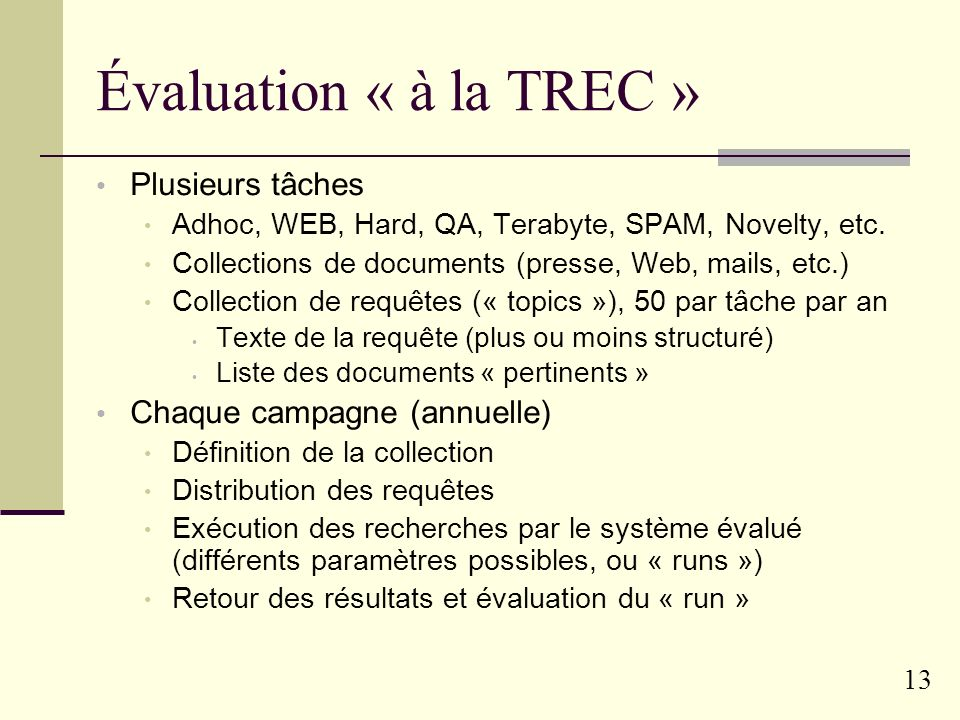 Évaluation « à la TREC » Plusieurs tâches Chaque campagne (annuelle)