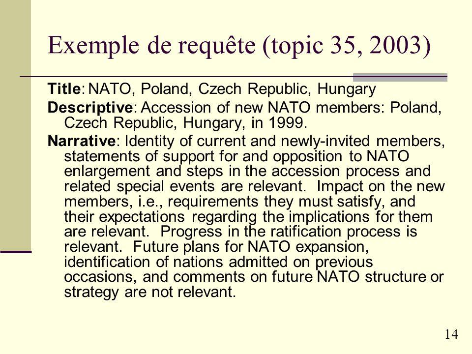 Exemple de requête (topic 35, 2003)