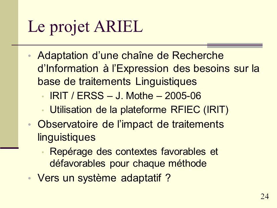 Le projet ARIELAdaptation d'une chaîne de Recherche d'Information à l'Expression des besoins sur la base de traitements Linguistiques.