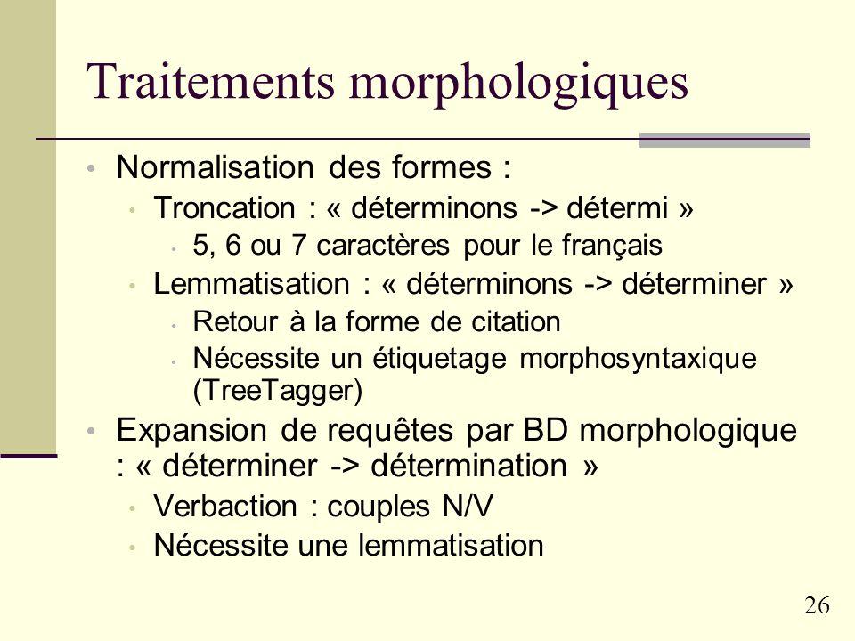 Traitements morphologiques