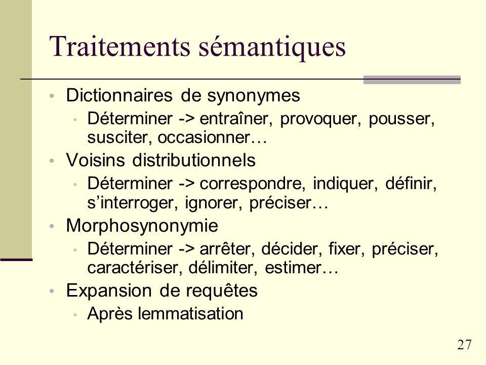 Traitements sémantiques