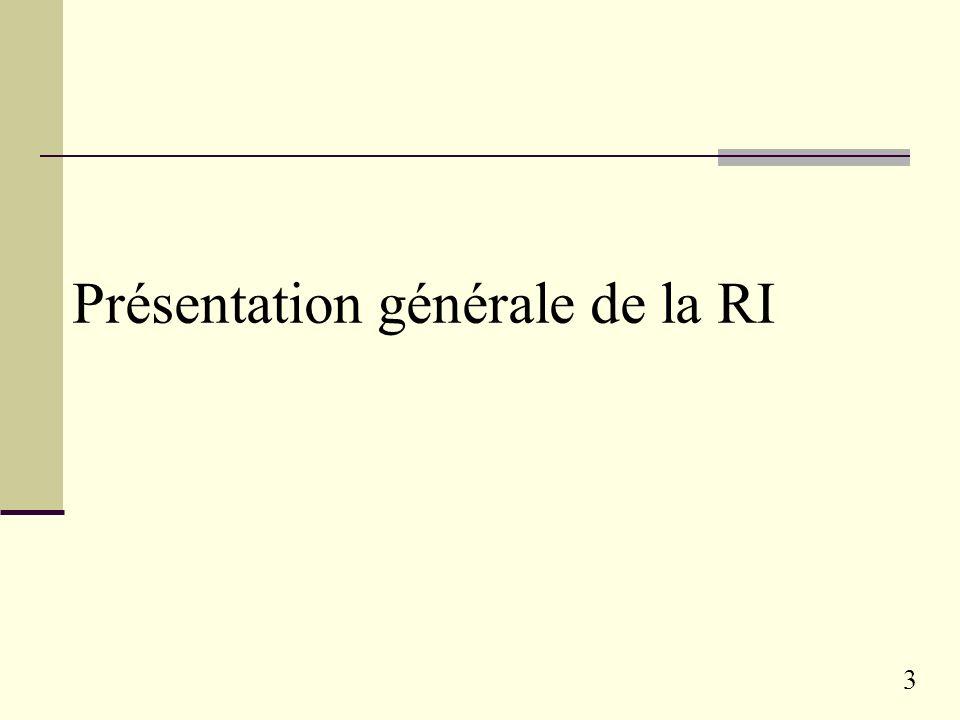 Présentation générale de la RI