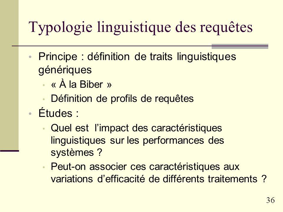 Typologie linguistique des requêtes