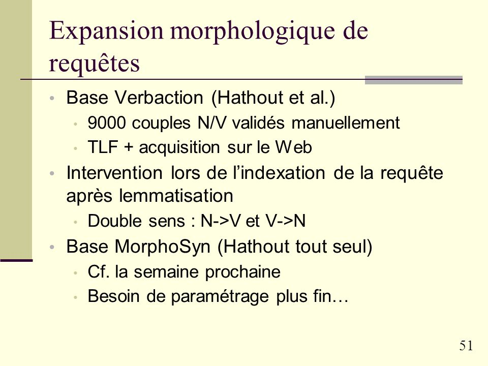 Expansion morphologique de requêtes