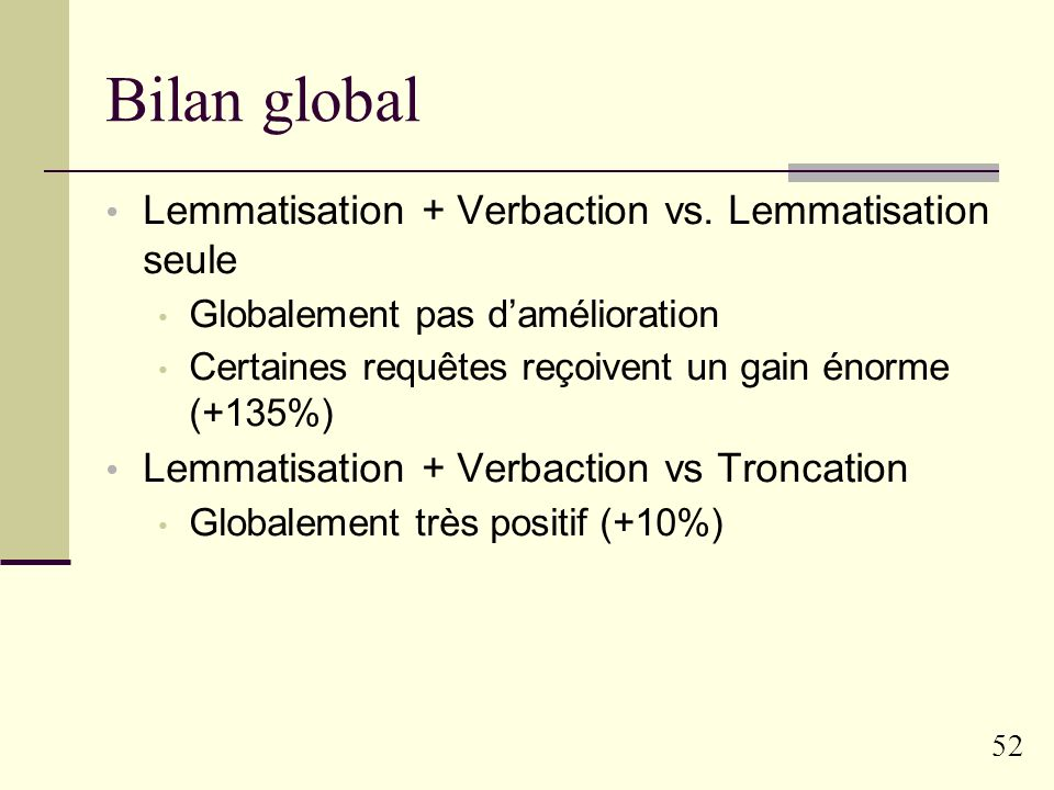 Bilan global Lemmatisation + Verbaction vs. Lemmatisation seule