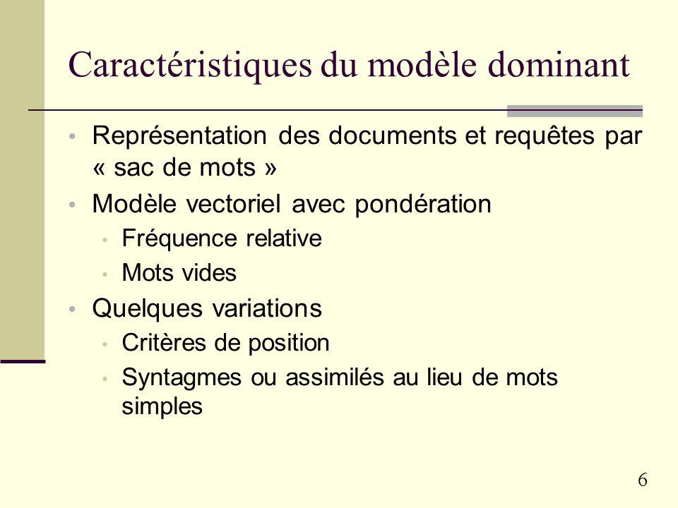 Caractéristiques du modèle dominant