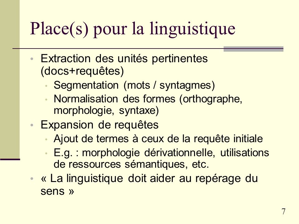 Place(s) pour la linguistique