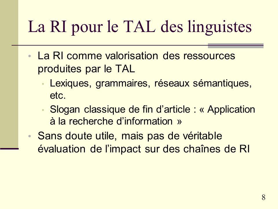 La RI pour le TAL des linguistes