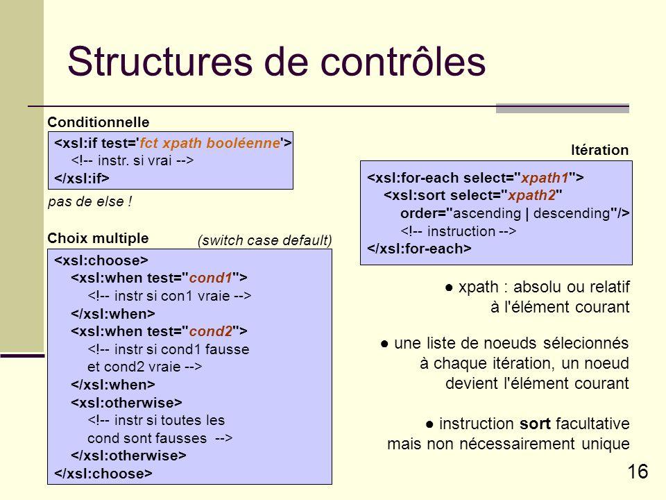 Structures de contrôles