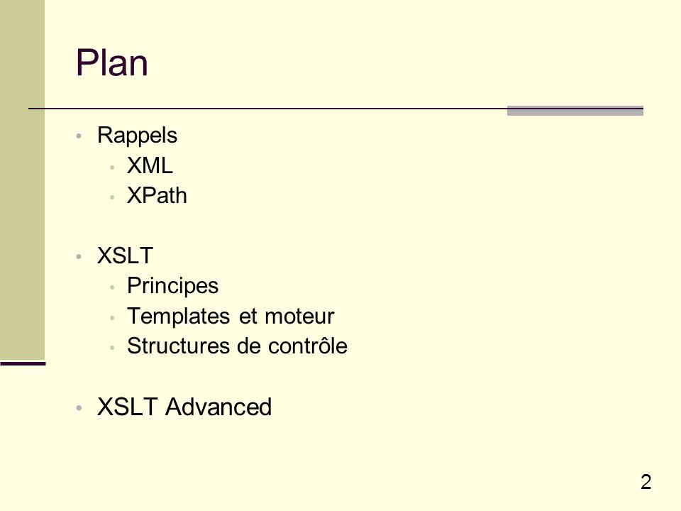 Plan XSLT Advanced Rappels XML XPath XSLT Principes