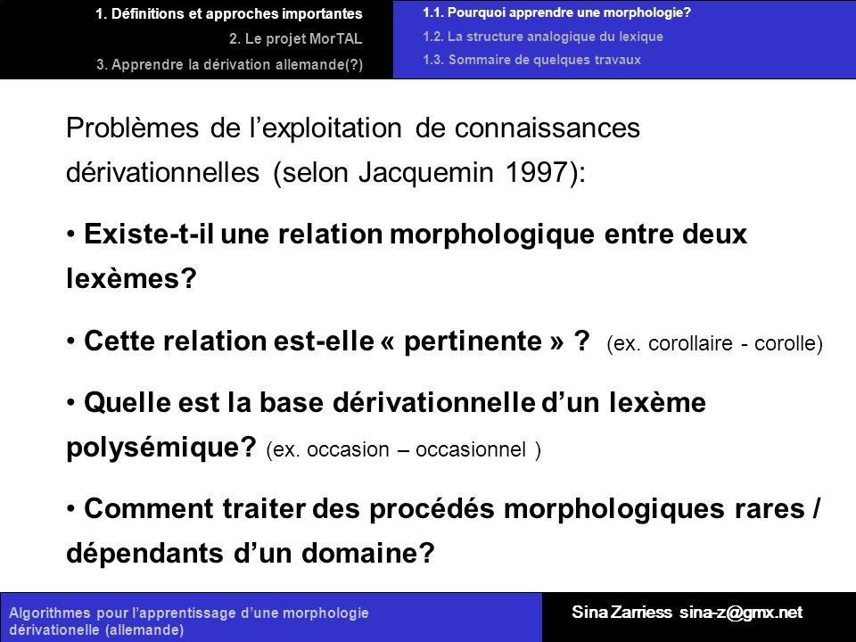 Existe-t-il une relation morphologique entre deux lexèmes
