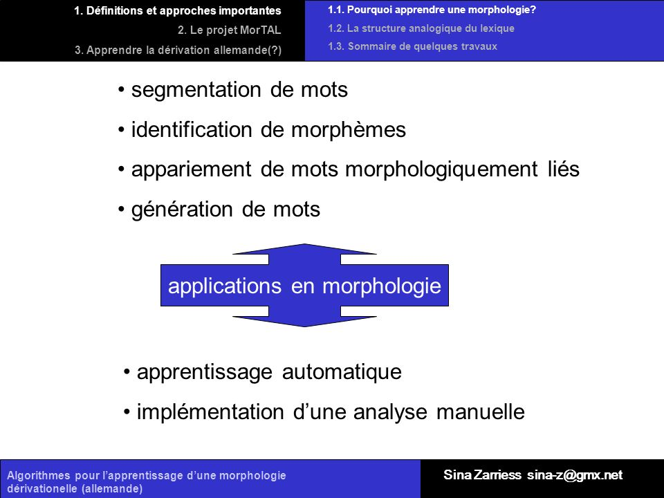 applications en morphologie
