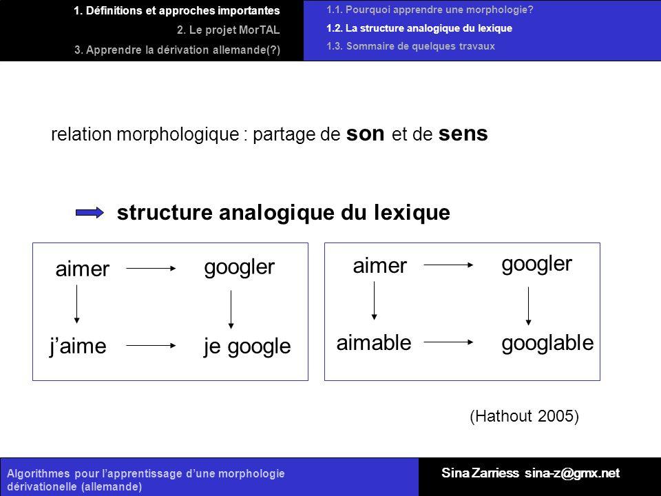 structure analogique du lexique