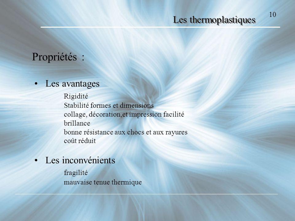 Propriétés : Les thermoplastiques Les avantages Rigidité