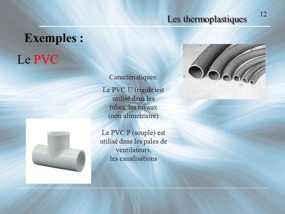 Exemples : Le PVC Les thermoplastiques 12 Caractéristiques: