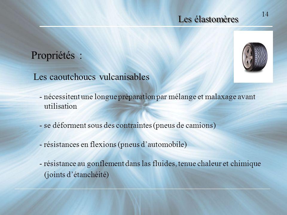 Propriétés : Les élastomères Les caoutchoucs vulcanisables