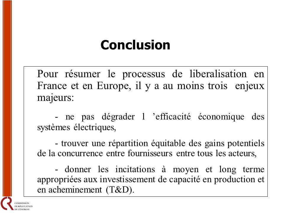 Conclusion Pour résumer le processus de liberalisation en France et en Europe, il y a au moins trois enjeux majeurs: