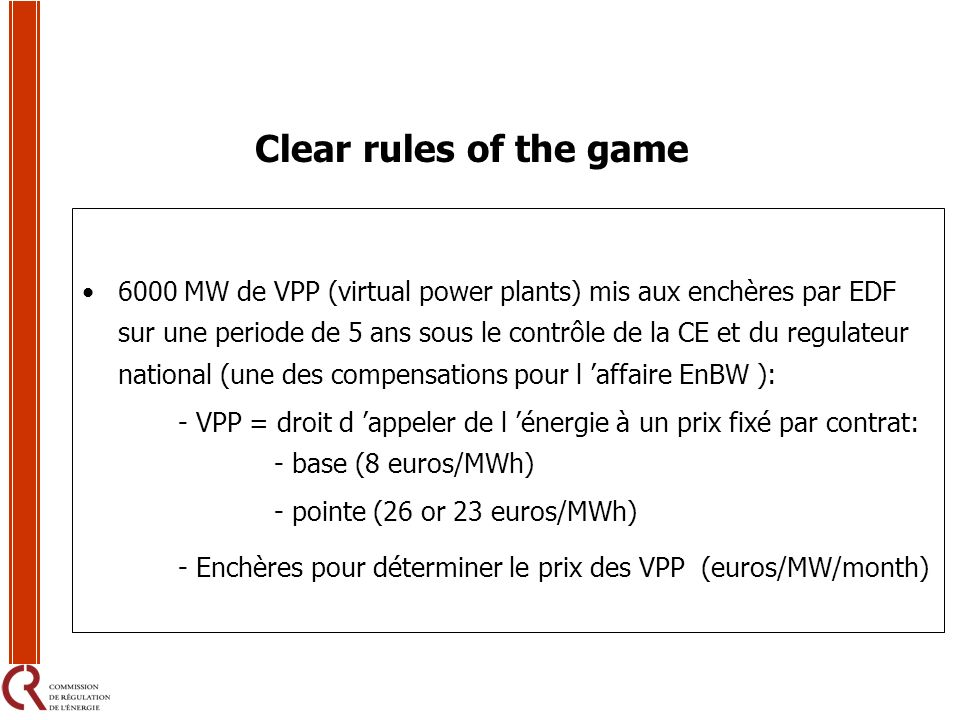 Clear rules of the game
