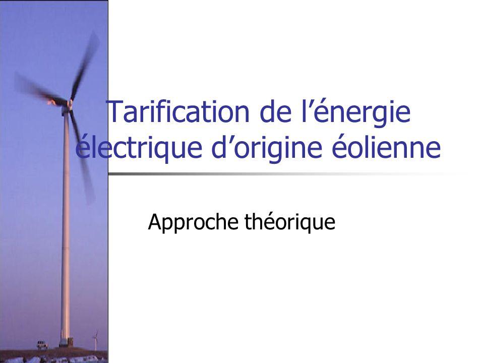 Tarification de l'énergie électrique d'origine éolienne