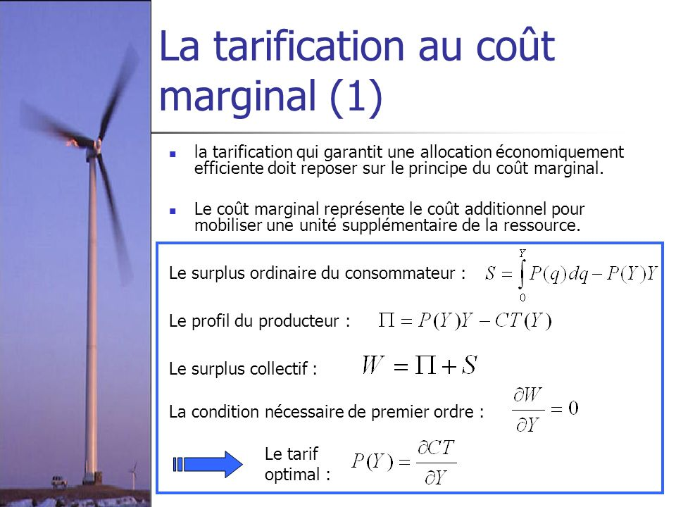 La tarification au coût marginal (1)