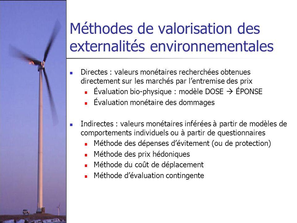 Méthodes de valorisation des externalités environnementales
