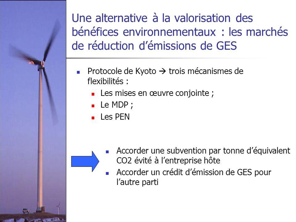 Une alternative à la valorisation des bénéfices environnementaux : les marchés de réduction d'émissions de GES