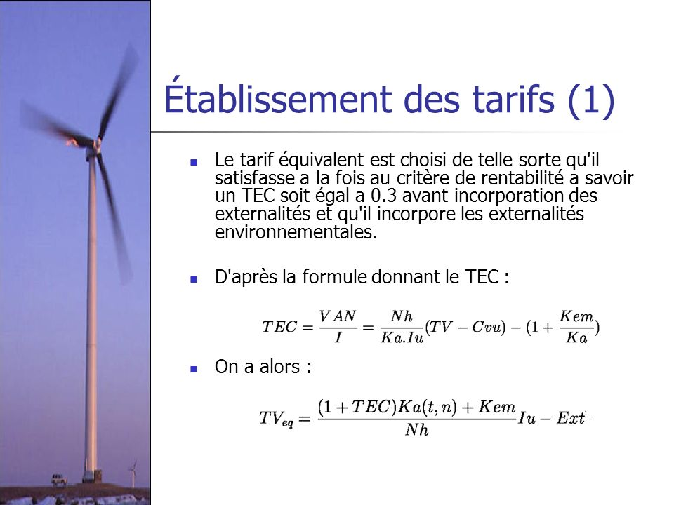 Établissement des tarifs (1)