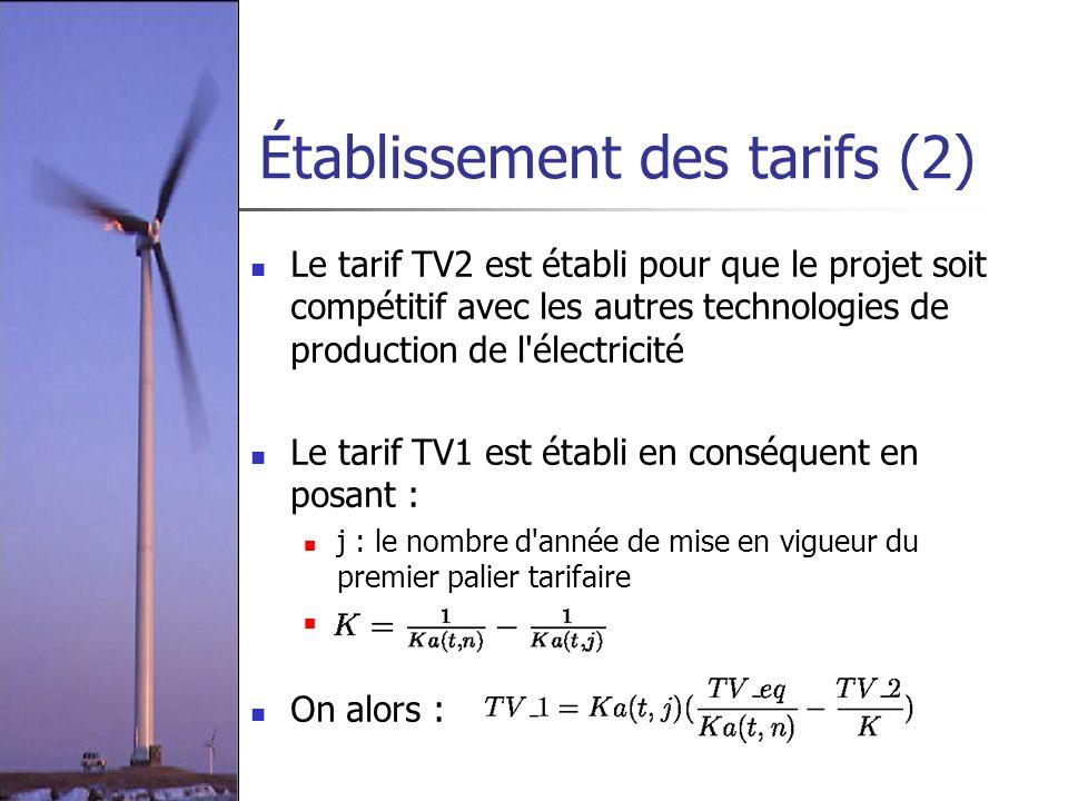 Établissement des tarifs (2)