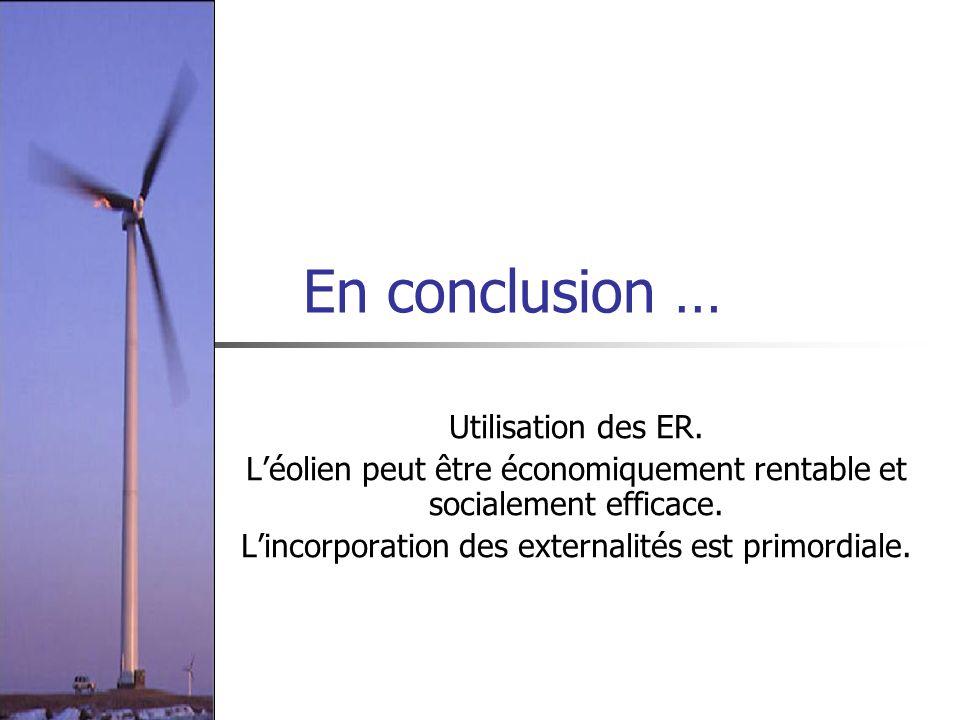 En conclusion … Utilisation des ER.