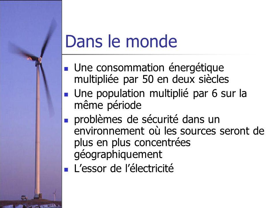 Dans le monde Une consommation énergétique multipliée par 50 en deux siècles. Une population multiplié par 6 sur la même période.
