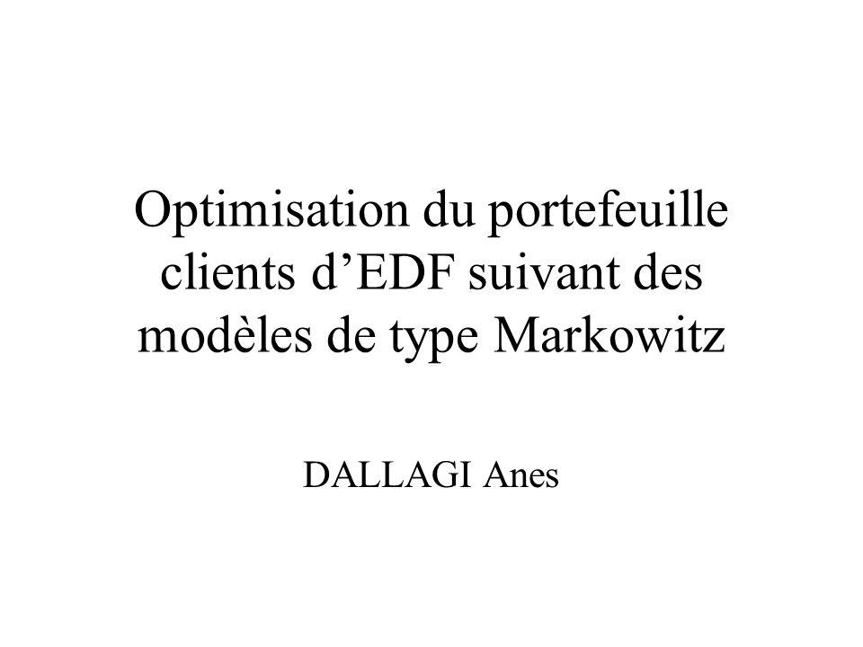 Optimisation du portefeuille clients d'EDF suivant des modèles de type Markowitz