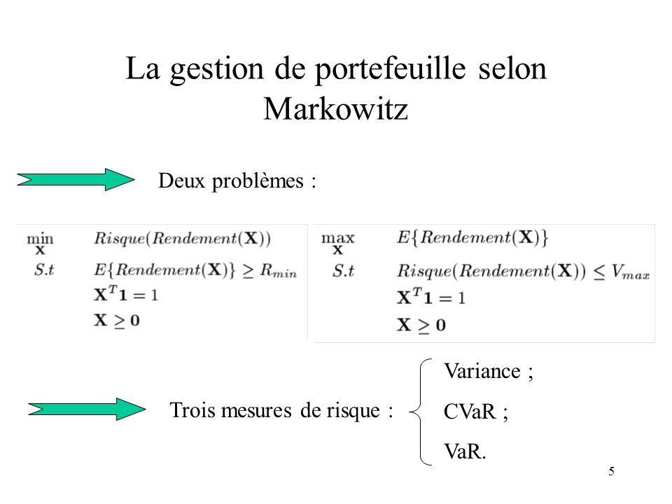 La gestion de portefeuille selon Markowitz