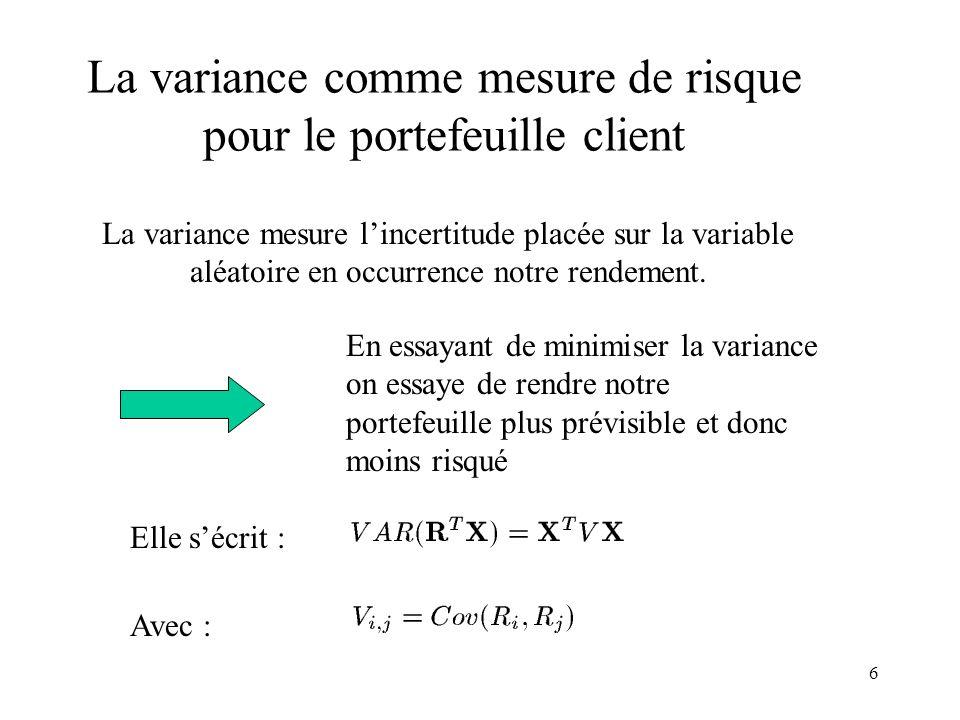 La variance comme mesure de risque pour le portefeuille client