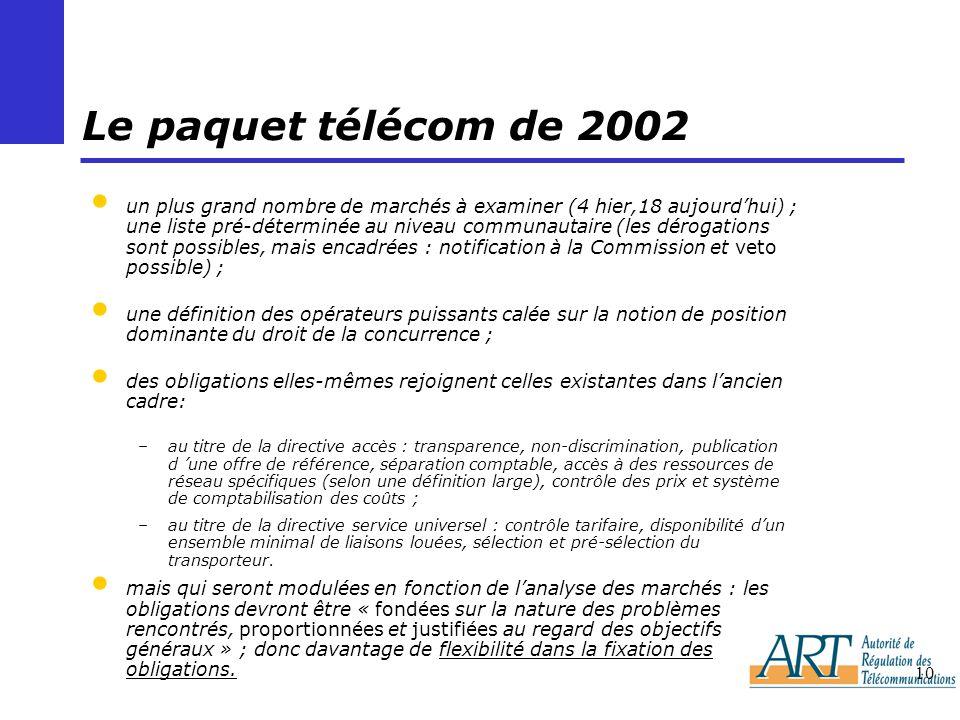 Le paquet télécom de 2002