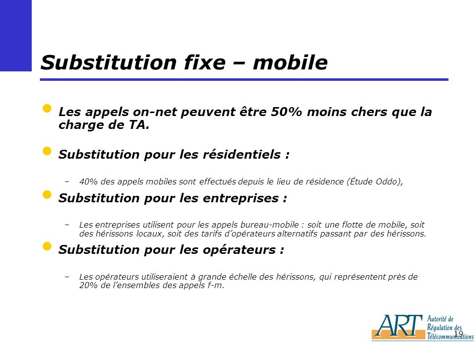 Substitution fixe – mobile
