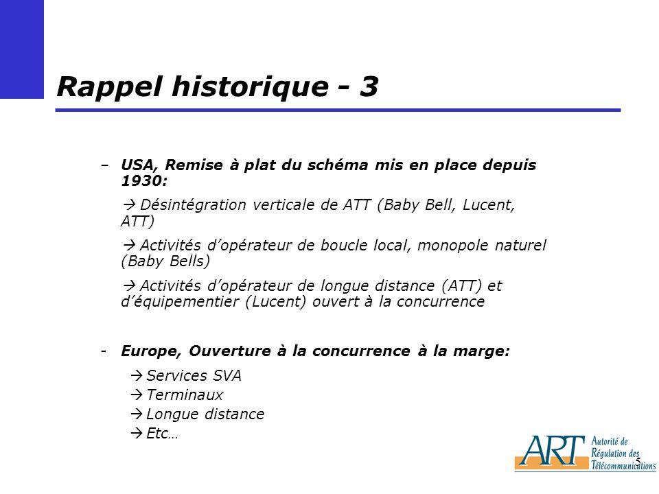 Rappel historique - 3 USA, Remise à plat du schéma mis en place depuis 1930:  Désintégration verticale de ATT (Baby Bell, Lucent, ATT)