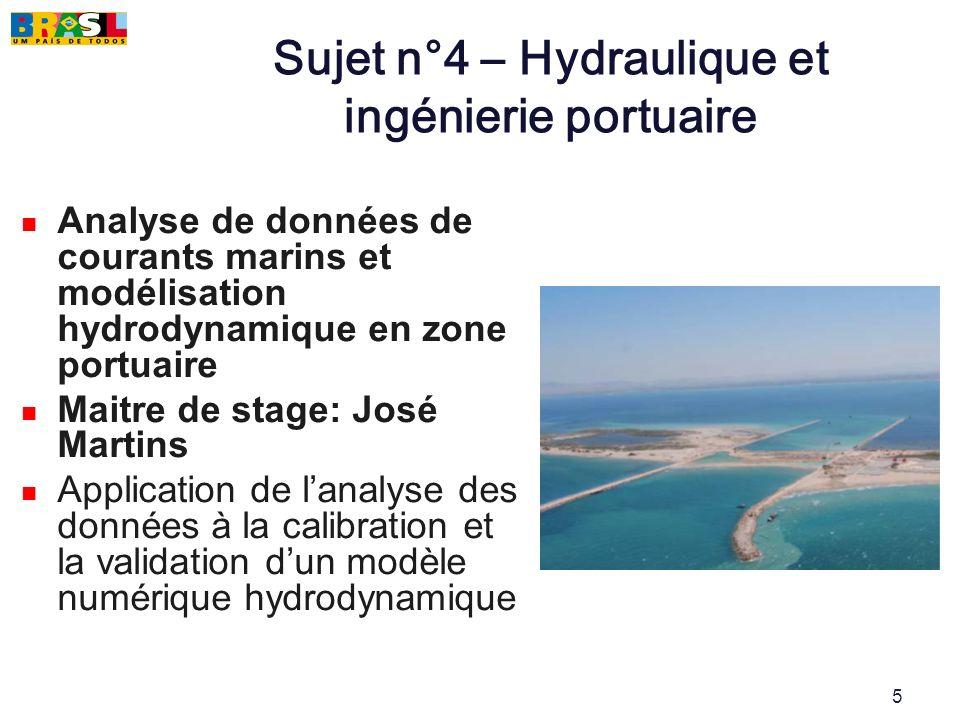 Sujet n°4 – Hydraulique et ingénierie portuaire