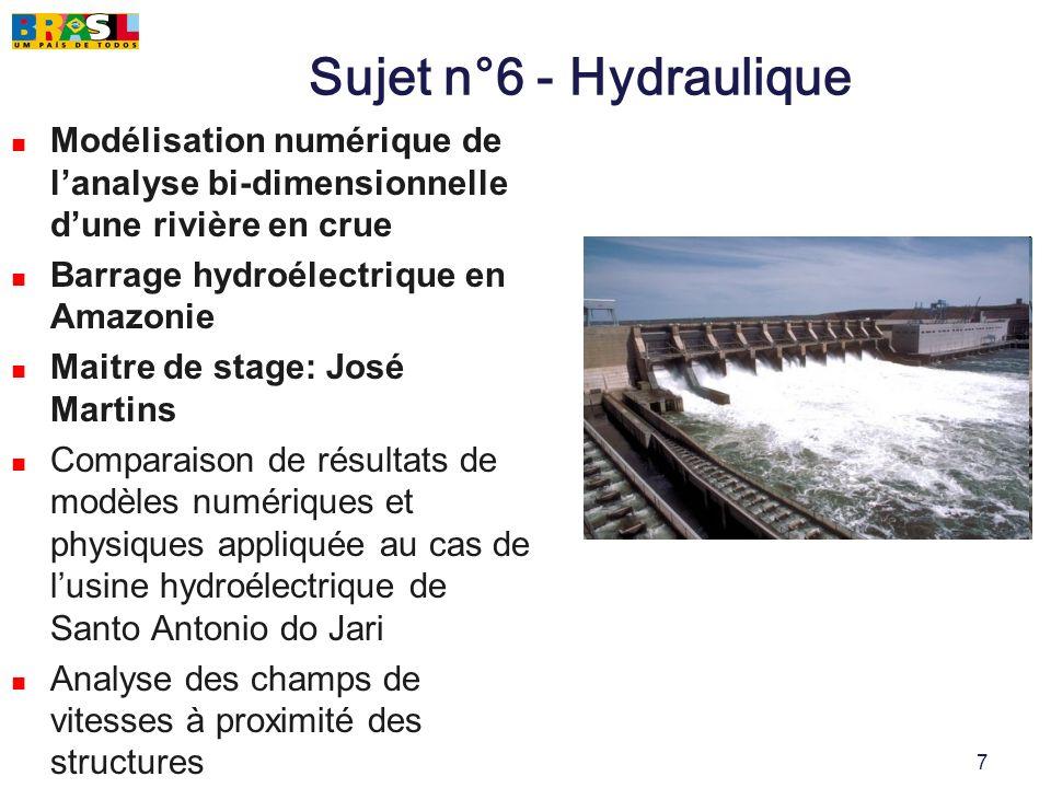 Sujet n°6 - Hydraulique Modélisation numérique de l'analyse bi-dimensionnelle d'une rivière en crue.