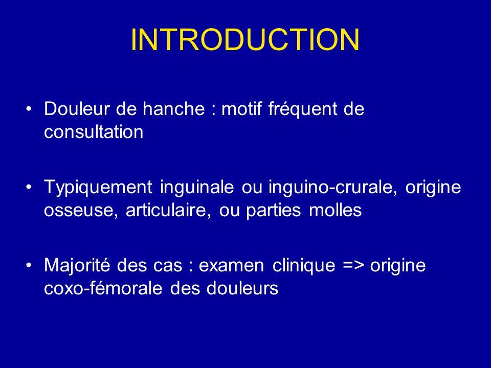 INTRODUCTION Douleur de hanche : motif fréquent de consultation